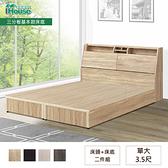 IHouse-長島 插座床頭、基本款床底 二件組 單大3.5尺梧桐