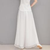 褲裙 白色雪紡闊腿褲女夏季薄款高腰垂感飄逸休閒寬鬆百搭顯瘦長褲裙褲 歐歐
