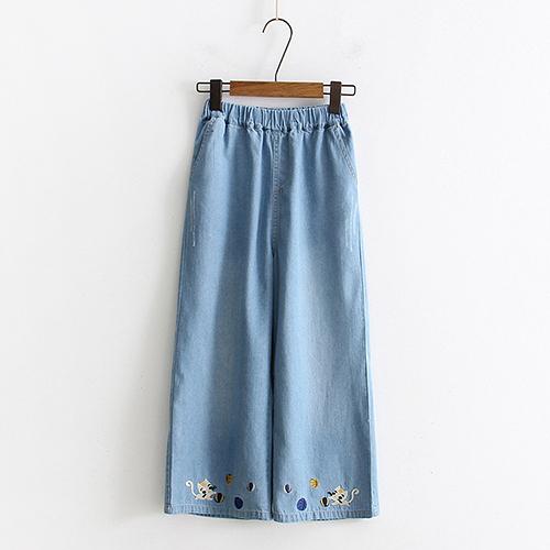 *ORead*日系森女刺繡七分闊腿牛仔褲(2色S~L)