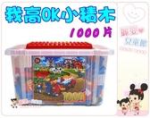 麗嬰兒童玩具館~寶貝的樂高-台製我高ok積木ok-313-小積木收納箱1000片裝