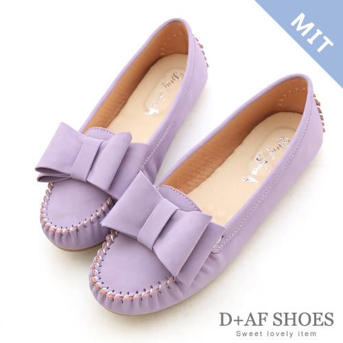 豆豆鞋 D+AF 俏皮甜心.MIT大蝴蝶結莫卡辛豆豆鞋*薰衣紫