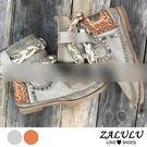 ZALULU愛鞋館 7JE122 預購  復古嬉皮年代個性金屬鉚釘短靴-棕/灰-36-43