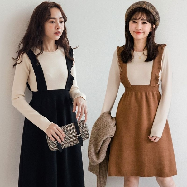 MIUSTAR 假兩件甜美立體荷葉肩帶彈力針織洋裝(共2色)【NH2967】預購
