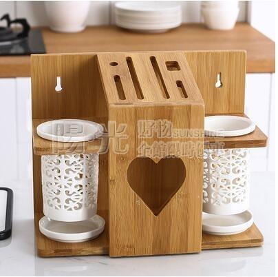 陶瓷筷子筒竹木刀架收納架家用廚房用品刀具刀座菜刀置物收納架子 陽光好物