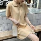 洋裝 短袖港風小香風寬松法式直筒裙針織polo領休閑連身裙1F081-B1胖妹大碼女裝