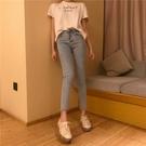 初秋新款2019網紅高腰淺色顯瘦鉛筆修身九分褲牛仔褲時尚氣質