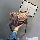 小香風chic包包女2020新款流浪包百搭斜背菱格錬條小包側背水桶包 韓國時尚週