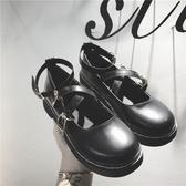 娃娃鞋復古學院風女單鞋秋新款圓頭鬆糕厚底娃娃鞋日系包頭小皮鞋新品
