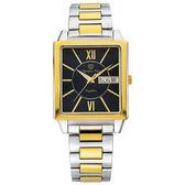 Olympia Star奧林比亞之星 經典時尚羅馬方型腕錶-雙色(黑)/34mm