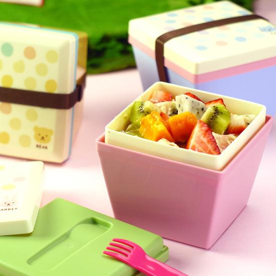 ♚MY COLOR♚日式糖果色雙層方斗形便當盒 飯盒 菜盒 泡麵 學生 上班族 午餐 湯碗 餐盒【T09-1】