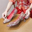 秀禾鞋中式細跟結婚鞋女新款百搭