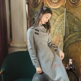 襯衫裙 復古中國風旗袍改良版洋裝女秋冬裝內搭長款氣質配大衣的長裙子【交換禮物】