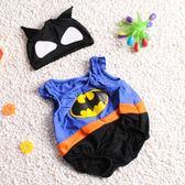 兒童泳衣嬰兒泳衣男童可愛0-3歲兒童小寶寶連身溫泉速幹1卡通蝙蝠俠2