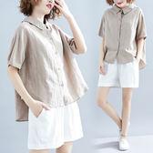 夏季新款韓版寬鬆微胖大碼蝴蝶結系帶減齡襯衫女學生百搭棉麻上衣