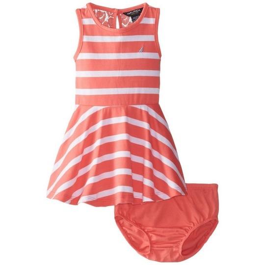 【北投之家】女寶寶洋裝二件組 無袖背心裙+內褲 品紅橫條   Nautica童裝 (嬰幼兒/兒童/小孩)