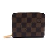 【台中米蘭站】全新品 Louis Vuitton Damier Ebene 拉鍊卡片零錢包(N63070-咖)