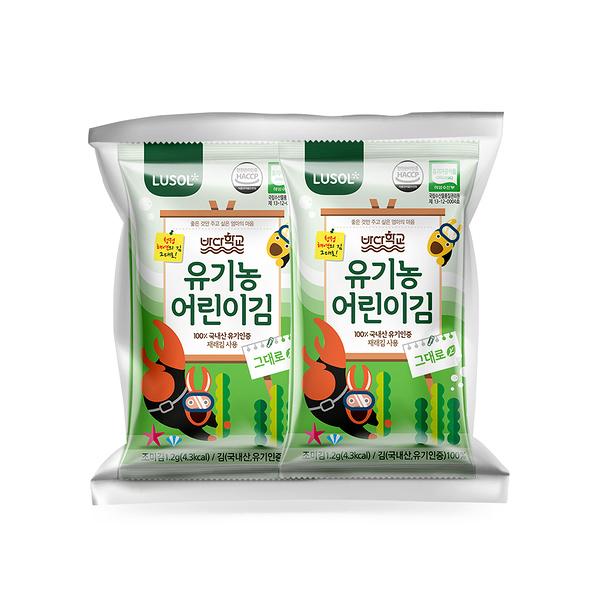 韓國 Lusol 烘烤海苔-原味(10入/包) /無鹽無調味