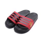 ADIDAS ADILETTE SHOWER 盾牌運動拖鞋 黑紅 FW7072 男鞋