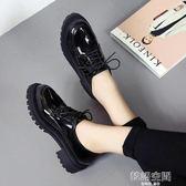 英倫風小皮鞋女黑色低幫厚底鬆糕跟復古時尚漆皮單鞋 韓語空間