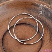 純銀耳環 韓國氣質大圓圈簡約耳墜女大氣夸張耳飾925銀飾耳扣耳圈