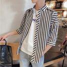 經典流行日系簡約直條紋造型百搭休閒長袖襯衫