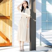 春夏7折[H2O]前襟交叉泡泡袖中高腰長洋裝 - 藍/米卡/粉桔色 #0674009
