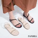 PAPORA氣質淑女平底涼鞋KB41米/黑