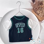 男童假兩件T恤籃球服兒童運動短袖韓版上衣【奇趣小屋】