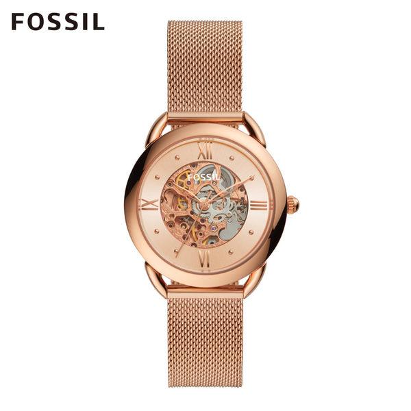 FOSSIL TAILOR 玫瑰金不鏽鋼透視機械錶ME3165