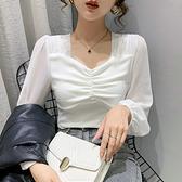 燈籠長袖美背T恤 純色t恤女上衣打底小衫H480A紅粉佳人