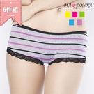 輕甜條紋 低腰褲 內褲 6件組3167 (隨機選色)