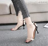 高跟涼鞋涼鞋女高跟細跟夏季蝴蝶結性感露趾中跟百搭一字扣 曼莎時尚