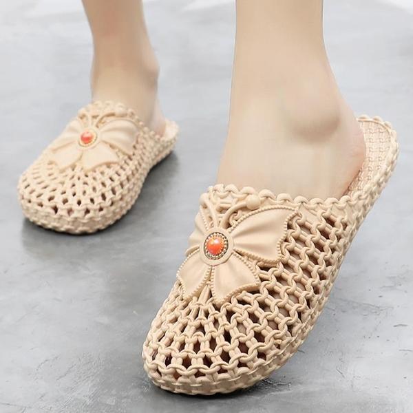 包頭拖鞋女2020新款夏時尚百搭平底外穿涼拖鞋女軟底沙灘洞洞鞋女 蘇菲小店