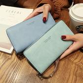長皮夾新款韓版時尚多功能可放6寸手機女士復古手提手拿長款零錢包 艾維朵