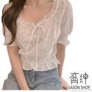 EASON SHOP(GW4148)韓版百搭純色花邊蕾絲拼接花朵印花蝴蝶結綁繩縮口短袖T恤女上衣服修身顯瘦內搭衫