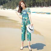 【GZ72】海邊度假複古民族風流蘇上衣+七分褲兩件套套裝