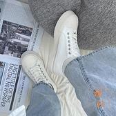 小白鞋女大頭鞋帆布鞋百搭復古休閑板鞋【橘社小鎮】