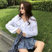 2018韓版女裝簡約小清新百搭荷葉邊V領氣質長袖襯衫秋裝襯衣上衣