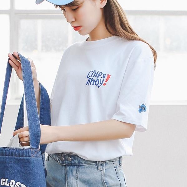 韓國女裝 巧克力餅乾字母短袖印花T恤【C0017】 韓妞必備 百搭素t 阿華有事嗎