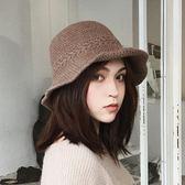 毛線帽針織漁夫帽秋冬保暖女士日繫文創百搭【極簡生活館】