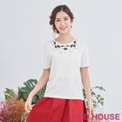 【RED HOUSE 蕾赫斯】雙色玫瑰花針織衫(杏白色)