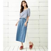 春夏7折[H2O]牛仔片裙拼接壓褶雪紡長裙 - 淺藍色 #0682016
