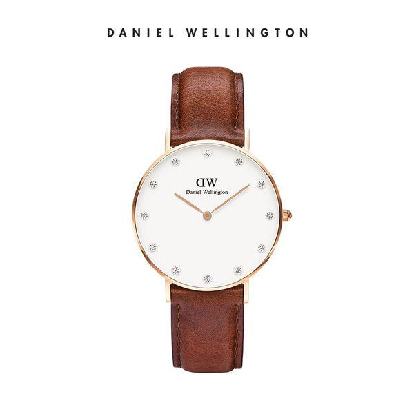 Daniel Wellington DW 手錶 34mm玫瑰金框 Classy 棕色真皮鑽石錶