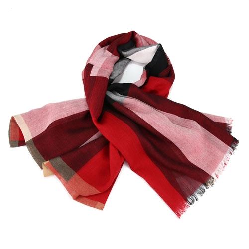BURBERRY 經典格紋墨代爾絲羊絨寬版長披巾 Parade Red (鮮紅)