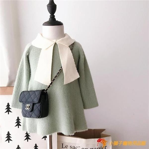 洋裝韓版洋氣裙子女童毛衣連身衣裙針織長袖寶寶兒童公主裙【小獅子】