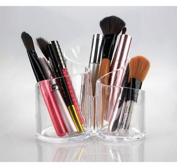 壓克力化妝刷具桶加厚三連體S型層次收納桶