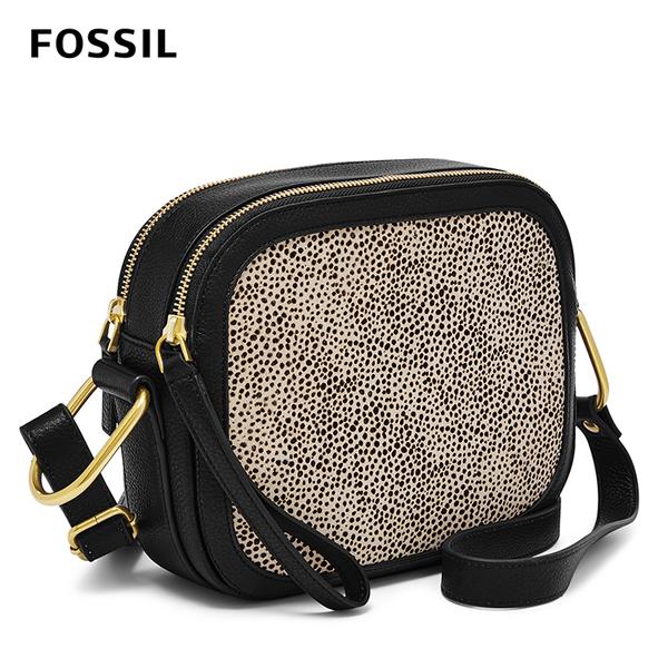 FOSSIL ELLE 白豹簡約真皮斜背包-豹紋印花 ZB7843504