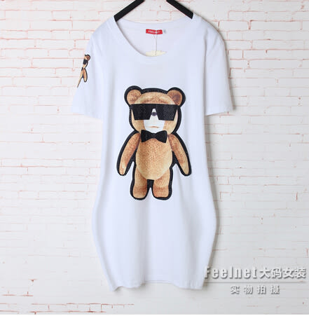 T恤【1641】Feelnet中大尺碼2018夏裝新款中長款寬松短袖T恤40-48碼