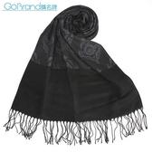 DAKS 新款復古歐洲圖騰設計流蘇披肩圍巾(深灰色)239335-2