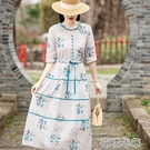 溫柔風碎花棉麻連衣裙女春夏2021新款氣質洋氣時尚苧麻連衣裙快速出貨